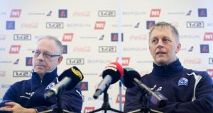 Iceland's national football team head coaches Lars Lagerback and Heimir Hallgrimsson. Photograph: Getty