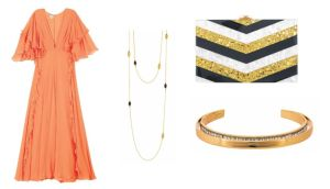 BLACK TIE: Asos orange ruffle maxi, €75 Dorothy Perkins chevron stripe clutch, €30 Alexis Bittar encrusted cuff, €220 at Brown Thomas Willow & Clo double-wrap necklace, €220