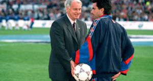Before the 1997 European Cup Winners Cup Final Mourinho talks to Barcelona coach Bobby Robson. Mourinho was Robson's assistant coach and translator. Photograph: Getty Images