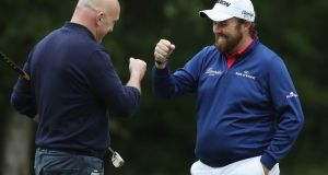 Shane Lowry celebrates with Keith Wood during the Pro-Am at Wentworth. Photograph: David Cannon/Getty Images
