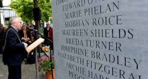 Former lord mayor of Dublin Christy Burke speaks at the monument to commemorate the victims of the Dublin and Monaghan bombings in Dublin in May 2015. Photograph: Cyril Byrne