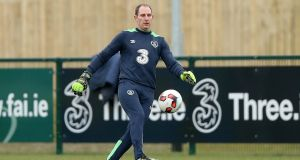 Dundalk goalkeeper Gary Rogers during Ireland training ahead of the Euro 2016 warm-up match against the Netherlands. Photo: Inpho