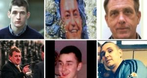 Victims of the Hutch-Kinahan feud (clockwise from top left): Gary Hutch, David Byrne, Eddie Hutch, Michael Barr, Martin O'Rourke and Noel Duggan
