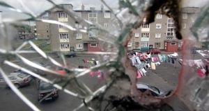 Part of  O'Devaney Gardens in Dublin, photographed in 2008 through broken glass on a stairwell at the blocks of apartments off the North Circular Road. File photograph: Eric Luke/The Irish Times