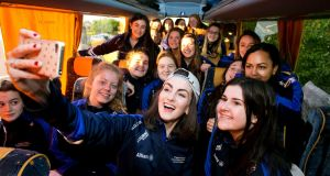 Presentation Kilkenny Secondary School Choir pictured leaving for the   semi-final of Britain's Got Talent.Photograph: Colm Mahady / Fennells