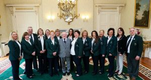 President Higgins welcomes Irish Ladies Fly-fishing Team to Áras an Uachtaráin. Maxwell photography