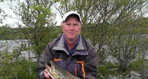 Paul Geraghty from Co Meath with his magnificent 6kg trout caught and released at Ballard Shore on Corrib