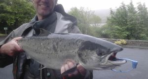 Leigh Hookes with his 11.6lbs salmon from the Erriff Fishery
