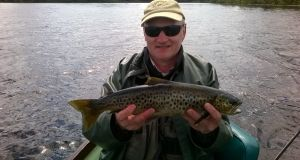 Cian Murtagh (Cavan) staying at Lydon's Lodge, Cong, with an Inchagoill trout on Corrib