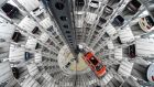 The delivery tower at  Volkswagen in Wolfsburg: VW's results are out on Tuesday. Photograph: REUTERS/Fabian Bimmer