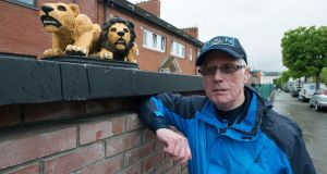 Summerhill resident Peter Wall with fibreglass  lions he  rescued from a local skip and restored. Photograph: Dave Meehan/The Irish Times