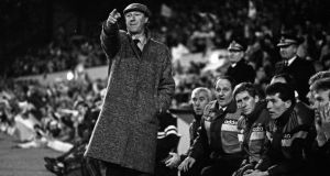 Jack Charlton issues instructions during the European Championship qualifier against Scotland at Hampden Park in Glasgow on February 18th 1987. Photograph: Billy Stickland/Inpho