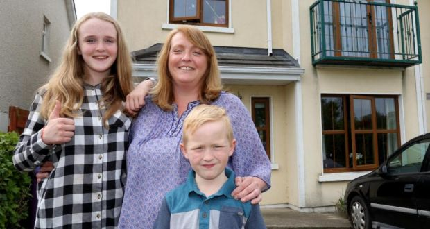 Anna Flynn  with her children Isobel and Tommy at their home in Meadowgate, Gorey, Co Wexford. Photograph: Mary Browne