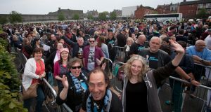 Bruce Springsteen fans queueing at Croke Park, Dublin. Photograph: Gareth Chaney Collins