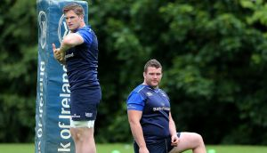Jamie Heaslip and Jack McGrath at Leinster squad training. Photograph: Lorraine O'Sullivan/Inpho