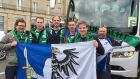 We made it! Connacht fans arrive in Edinburgh. Photograph: Tomás Kenny