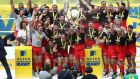 Saracens celebrate their English Premiership success. Photograph: Getty