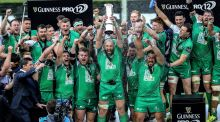 John Muldoon lifts the Pro12 trophy for Connacht. Photograph: Inpho