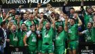 Connacht are crowned Pro 12 champions after their 20-10 win over Leinster in Edinburgh. Photograph: Inpho/Billy Stickland