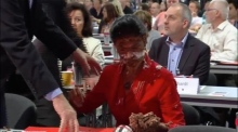 German MP hit with cream pie in protest