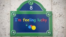 A sign reading 'I'm feeling lucky' is displayed on the facade of the Google headquarters in Paris, France. Photograph: Jeremy Lempin/EPA