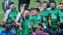 Connacht captain John Muldoon celebrates with his team-mates after victory over Leinster in the Pro 12 final. Photograph: Inpho
