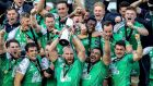 Connacht captain John Muldoon lifts the Guinness Pro12 Trophy. Photograph: Billy Stickland/Inpho