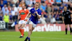 Cavan's Martin Reilly wheels away after scoring a penalty in his side's win over Armagh. Photograph: Inpho