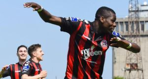 Ismahil Akinade was on the scoresheet for Bohs as they thrashed St Pat's 5-1. Photograph: Inpho