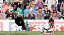 Connacht's Niyi Adeolokun finishes off a lovely piece of skill on the right wing to beat Eoin Reddan to the try line at Murrayfield. Photograph: Dan Sheridan/Inpho