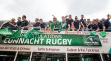 The Connacht rugby team during their homecoming in Galway. Photograph:  ©INPHO/James Crombie