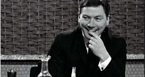 Broadcaster Gay Byrne on the set of 'The Late Late Show', in the autumn of 1966. Photograph:  RTÉ Stills Library
