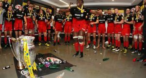 Maro Itoje of Saracens leads the celebrations after their victory during the Aviva Premiership final match between Saracens and Exeter Chiefs at Twickenham Stadium. Photograph: Getty Images