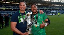 Connacht  coach Pat Lam and centre Bundee Aki celebrate with the Pro12 trophy. Photograph: James Crombie/Inpho