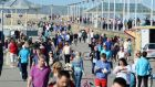 Dun Laoghaire pier full of Sunday walkers enjoying  the sunshine. Photograph: Cyril Byrne/The Irish Times