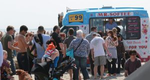 Queuing for ice cream at the Battle of the Bay watersport festival 2016 on Dollymount Strand, Dublin.  Photograph: Nick Bradshaw / The Irish Times