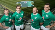 Keith Earls, Jamie Heaslip, Rory Best and Ultan Dillane in the new Vodafone-sponsored Ireland kit. Photograph: Inpho/Billy Stickland
