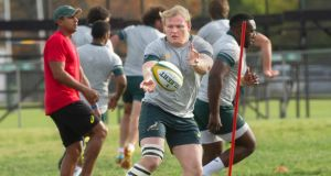 Newly anounced Springbok captain Adriaan Strauss pictured during a training session in Stellenbosch on Monday. Photograph: Rodger Bosch/AFP/Getty Images