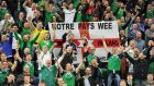 Northern Ireland fans during their friendly victory over Belarus at Windsor Park, Belfast. Photograph: Clodagh Kilcoyne/Reuters