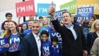 Mayor of London Sadiq Khan and prime minister David Cameron greet crowds at the 'Remain' battle bus campaign at Froebel College of the University of Roehampton. Photograph: Facundo Arrizabalaga/EPA