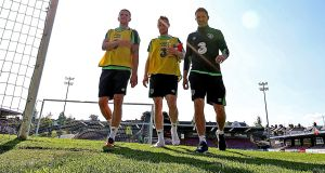 Robbie Brady, Stephen Quinn and Robbie Keane at the Republic of Ireland training session at Turner's Cross on Monday. Photograph: Donall Farmer/Inpho