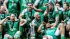 Connacht celebrate with the Guinness Pro12 trophy. The province have a new breed of young player, along with a core of indigenous players, who now expect the province to be contenders. Photograph: Dan Sheridan