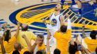 Stephen Curry top scored with 36 points to guide the Golden State Warriors to the NBA finals. Photograph: Reuters