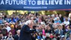 Democratic presidential candidate Bernie Sanders speaks at a rally in Oakland, California, on Monday. Photograph: Josh Edelson/AFP/Getty Images