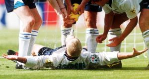 Paul Gascoigne's iconic dentist's chair celebration. Photograph: Getty