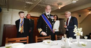 JUTLAND REMEMBERED: Prince Michael of Kent inspects the refurbished HMS Caroline in Belfast. The vessel is the last surviving ship from the 1916 Battle of Jutland. Photograph: Charles McQuillan/Getty Images