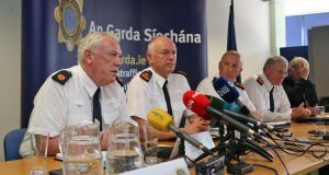 Assistant Commissioner John O'Mahony, Supt Finbarr Murphy, Deputy Commissioner John Twomey, Supt Daniel Flavin and Assistant Commissioner Eugene Corcoran at a media briefing in Store Street Garda station. Photograph: Colin Keegan, Collins