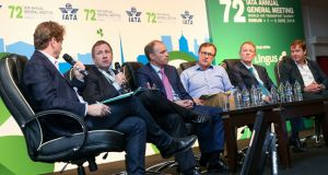 David McWilliams, economist, Aer Lingus chief executive Stephen Kavanagh, AerCap chief executive Aengus Kelly, Kevin Toland, DAA chief executive, Eamonn Brennan, chief executive of the Irish Aviation Authority and Conor McCarthy, chief executive, Dublin Aerospace, at a discussion in the RDS ahead of the IATA AGM 2016 World Air Transport Summit . Photograph: Maxwells