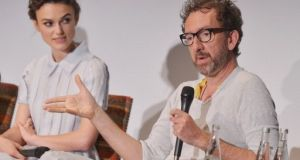 A fikle image of actor Keira Knightley and writer/director John Carney at a press conference for  'Begin Again' in 2014.  Photograph: Getty