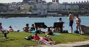 People enjoying the good weather at Forty foot, Sandycove ,Dublin this week. Photograph: Stephen Collins/Collins Photos